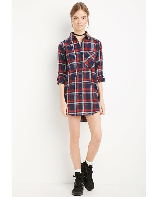 Forever 21 Plaid Flannel Shirt Dress In Blue Navy Red Lyst