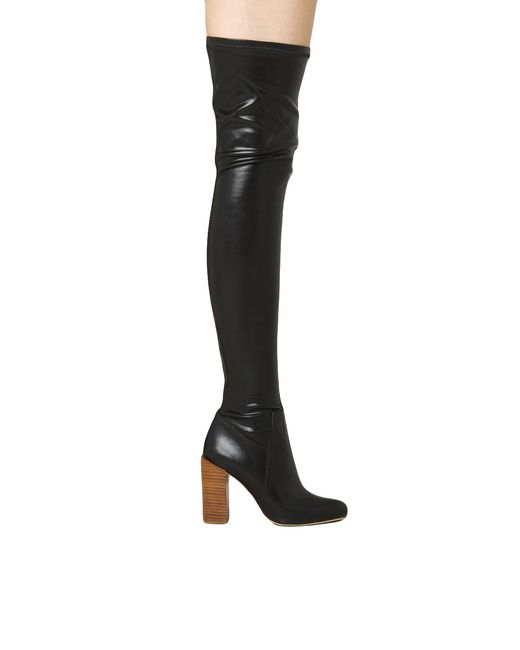 jeffrey cbell perouze thigh high leather boots in black