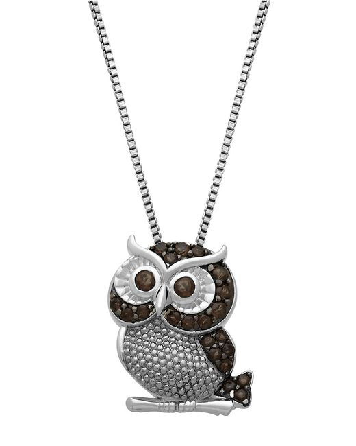 Lord & Taylor | Metallic Sterling Silver Smokey Quartz Owl Pendant Necklace | Lyst