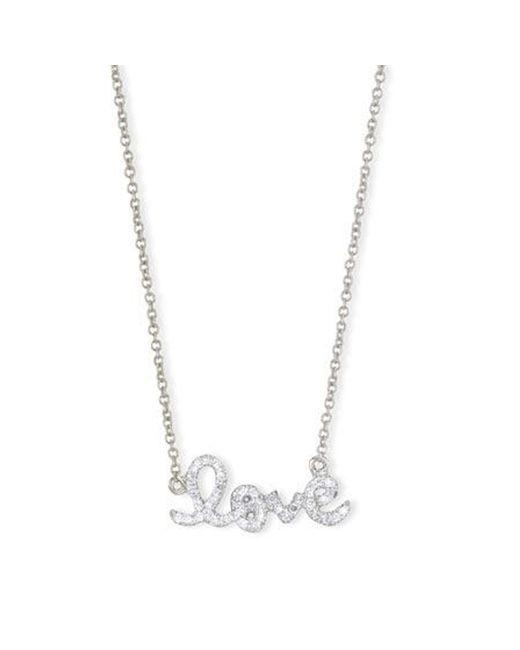 Sydney Evan | Metallic White Gold Love Necklace | Lyst