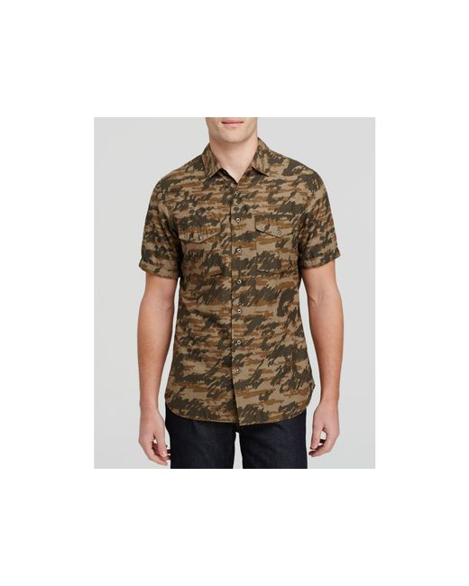 Wings Horns Tiger Spruce Camo Short Sleeve Button Down