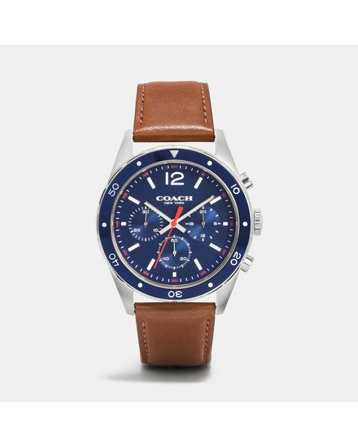 COACH | Blue Sullivan Sport Stainless Steel Chrono Leather Strap Watch | Lyst
