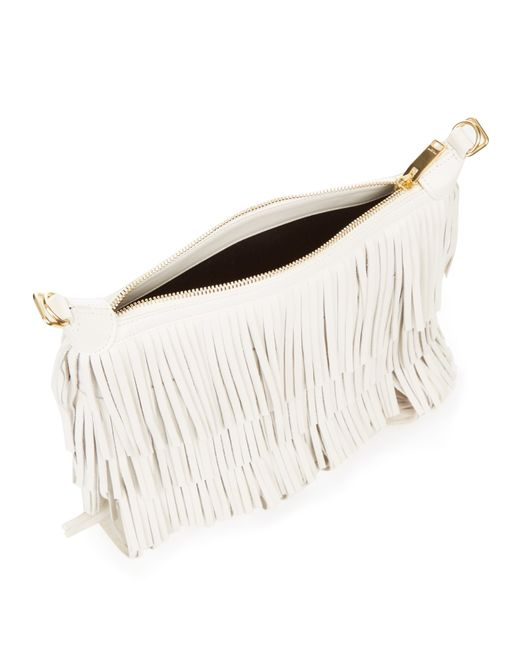 ysl city bag - emmanuelle small leather fringe hobo bag, white