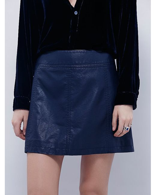 Free People | Blue Zip To It Vegan Leather Mini Skirt | Lyst