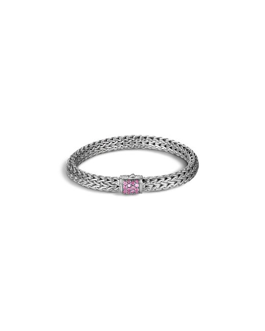 John Hardy | Classic Chain Sterling Silver Medium Bracelet With Pink Spinel | Lyst