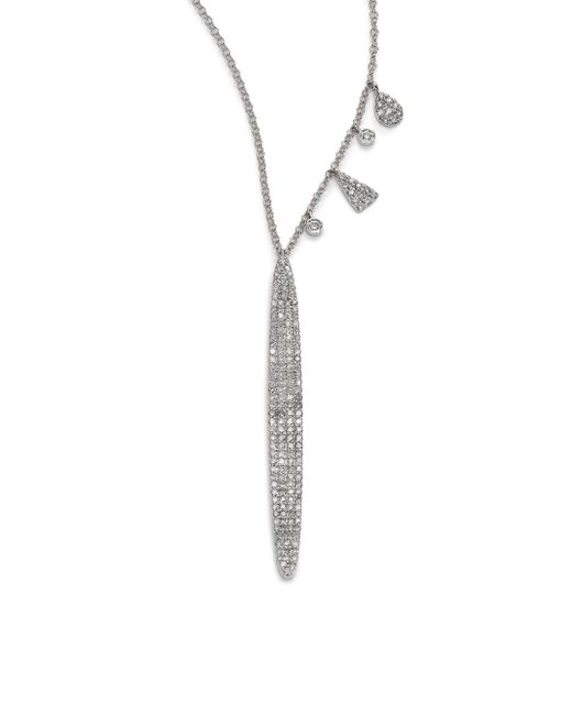 Meira T | Diamond & 14k White Gold Drop Pendant Necklace | Lyst
