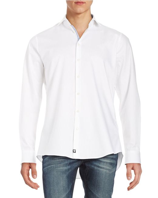 strellson slim fit sportshirt in white for men save 66 lyst. Black Bedroom Furniture Sets. Home Design Ideas