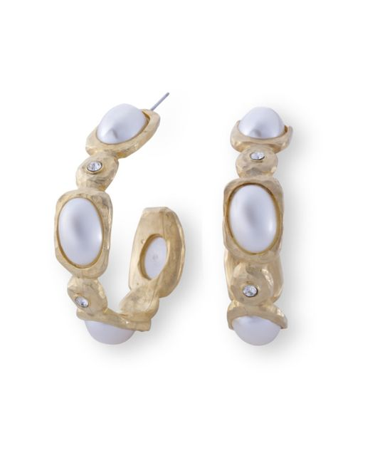 Kenneth Jay Lane | Metallic Crystal And Pearl Hoop Earring | Lyst