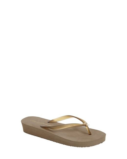 Tommy Bahama | Gray 'whykiki' Wedge Flip Flop | Lyst