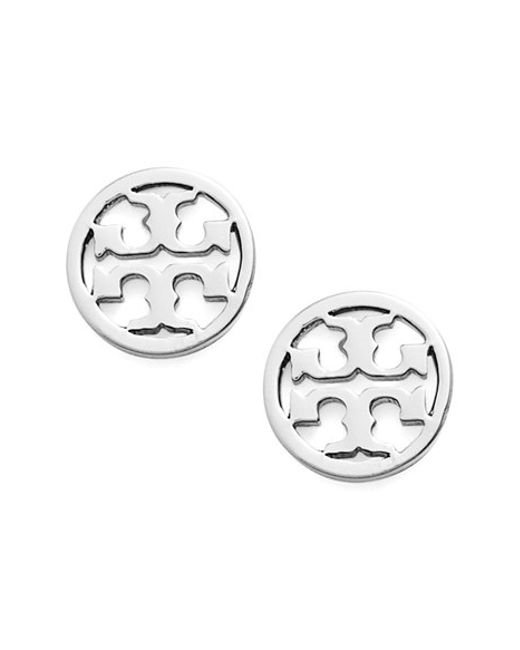 Tory Burch | Silver Circle Logo Stud Earrings | Lyst