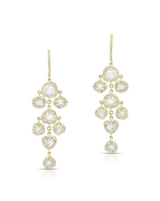 Anne Sisteron | Metallic 14kt Yellow Gold Diamond Slice Mini Chandelier Earrings | Lyst