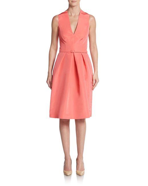 Oscar de la Renta | Pink Belted Silk Fit-and-flare Dress | Lyst