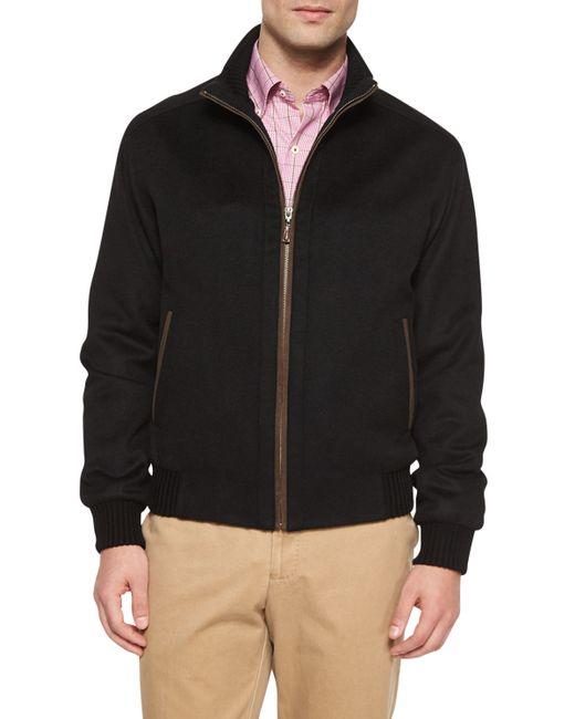 Peter Millar Patrick Wool Blend Zip Up Jacket In Black For
