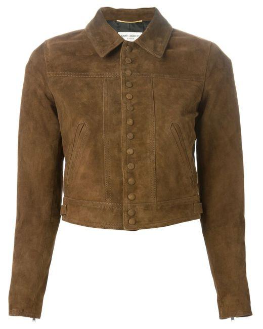 Saint laurent Cropped Jacket in Brown | Lyst