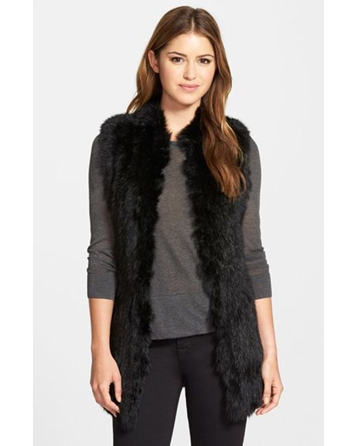 Love Token | Black Genuine Rabbit Fur & Knit Vest | Lyst