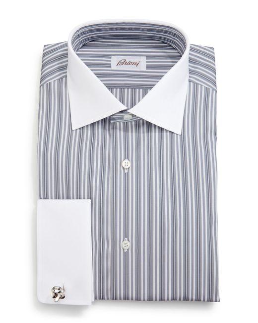 Brioni contrast collar multi stripe french cuff dress for French collar dress shirt