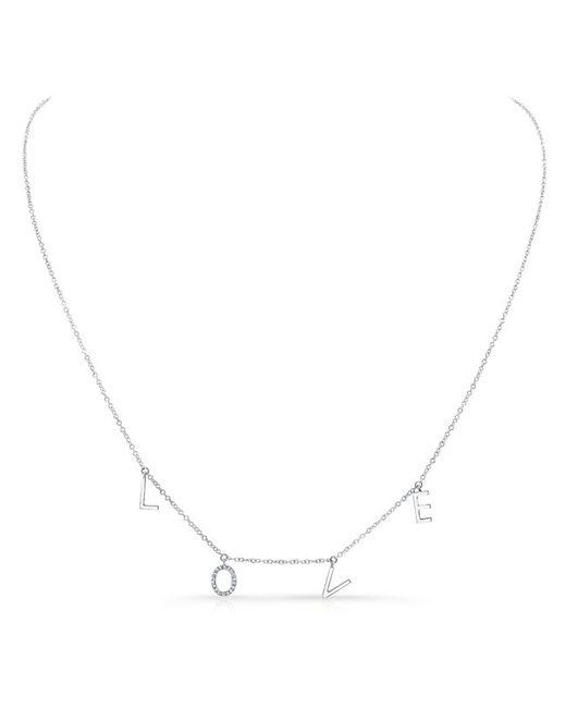 Anne Sisteron | Metallic 14kt White Gold Love Necklace -diamond O | Lyst