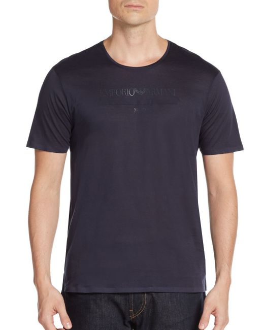 Emporio Armani | Blue Logo Cotton Tee for Men | Lyst