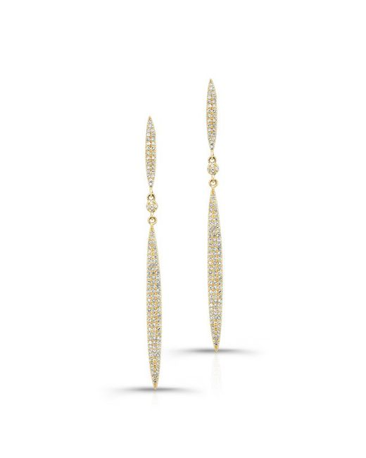 Anne Sisteron - Metallic 14kt Yellow Gold Diamond Double Petal Earrings - Lyst