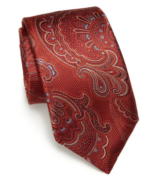 Saks Fifth Avenue | Red Paisley Silk Tie  for Men | Lyst