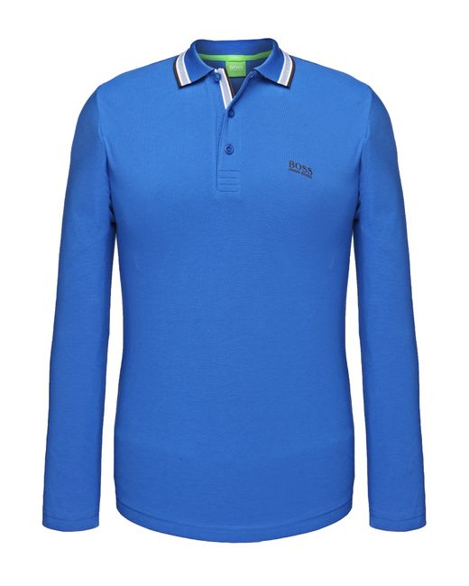 BOSS Green | Blue Regular-fit Long-sleeved Polo Shirt In Cotton Piqué: 'plisy' for Men | Lyst