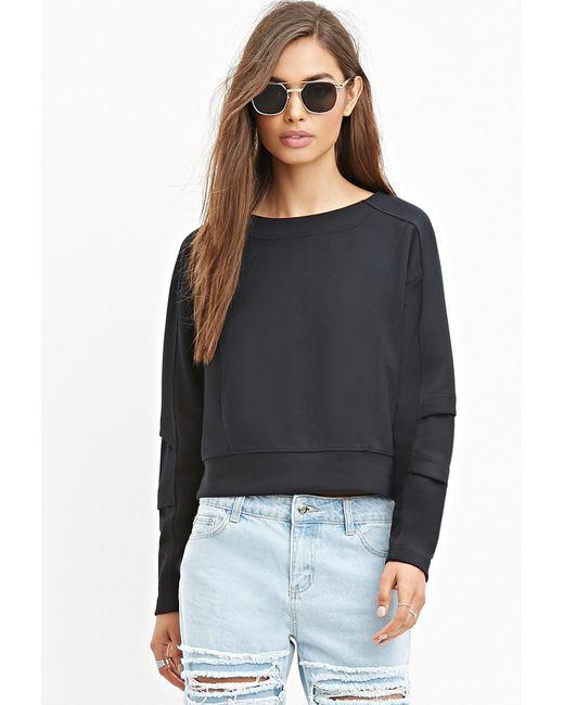 Forever 21 | Black Tonal-paneled Boxy Sweatshirt | Lyst