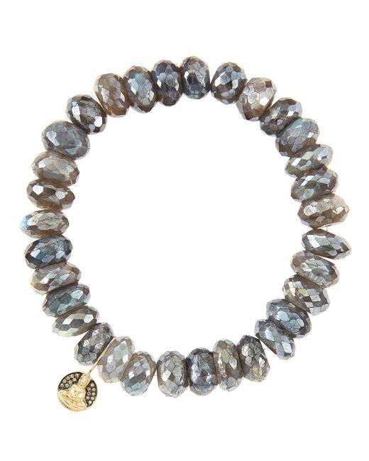 Sydney Evan | Gray 10Mm Mystic Labradorite Beaded Bracelet With 14K Gold/Diamond Small Buddha Charm (Made To Order) | Lyst