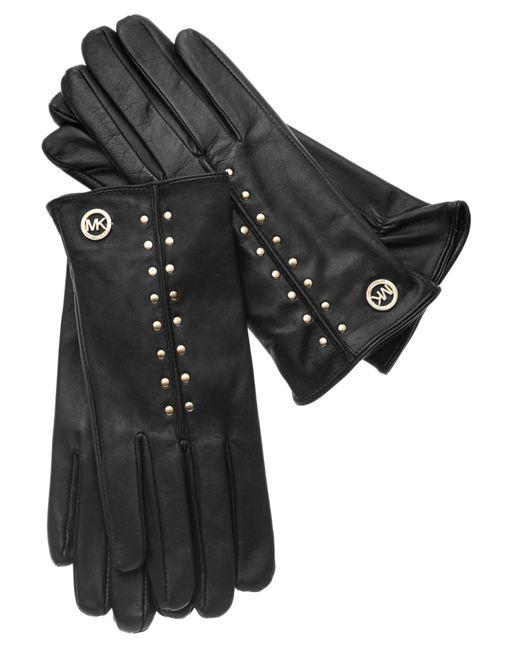 Michael Kors | Black Michael Leather Astor Studded Gloves | Lyst
