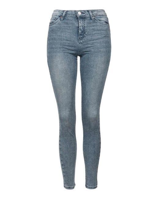 TOPSHOP | Blue Moto Grey Acid Jamie Jeans | Lyst