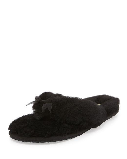 Ugg | Black Fluff Ii Shearling Fur Flip-flop Slipper | Lyst