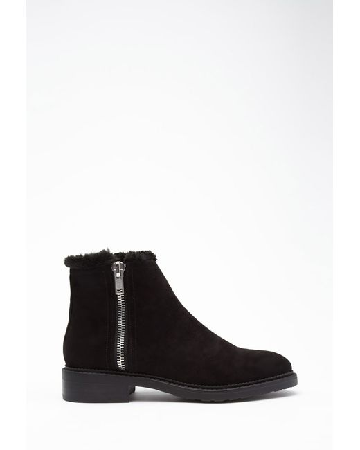 Forever 21 | Black Faux Suede Ankle Booties | Lyst