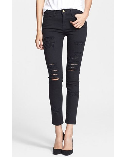 FRAME   Black 'le Color Rip' Skinny Jeans   Lyst