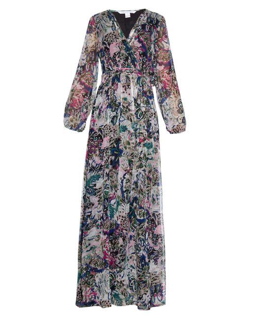 Diane von Furstenberg | Black Celia Long Silk Dress | Lyst