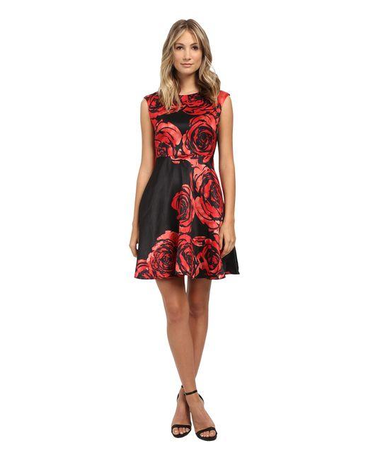 Donna Morgan   Red Dupioni Fit & Flare Dress   Lyst