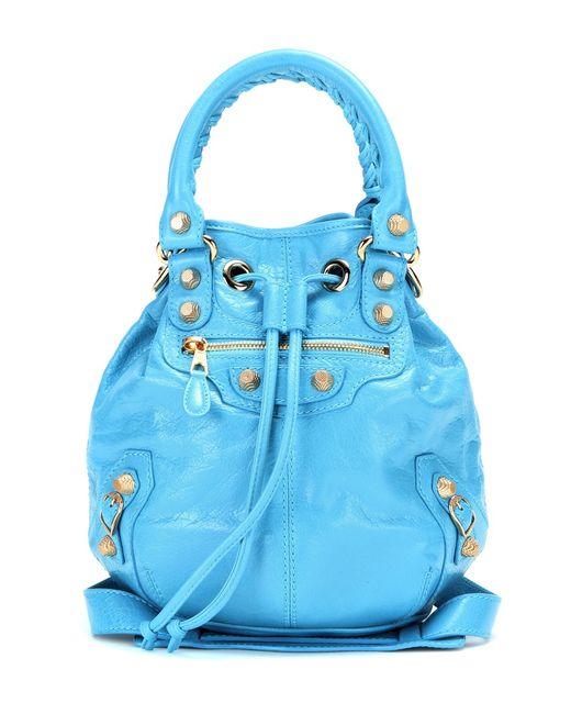 balenciaga giant mini pompon leather shoulder bag in blue. Black Bedroom Furniture Sets. Home Design Ideas