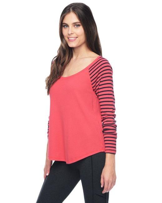 Splendid | Pink Thermal Venice Stripe Raglan | Lyst