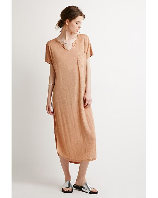 Forever 21 | Brown Slub Knit High-slit Dress | Lyst