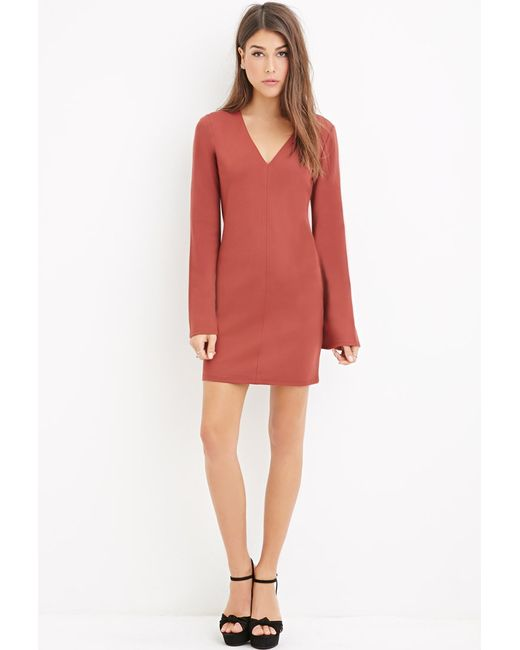 Forever 21 | Brown Contemporary V-neck Shift Dress | Lyst