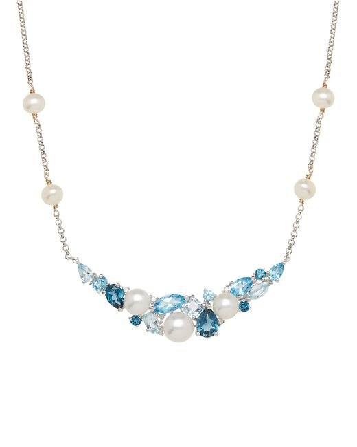 Lord & Taylor | Metallic Sterling Silver Freshwater Pearl Blue Topaz Necklace With Diamonds | Lyst