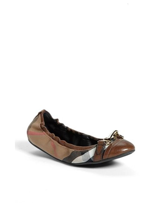 Burberry | Brown 'shipley' Flat | Lyst