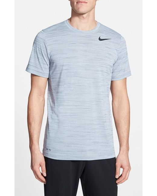 Nike | Blue Dri-Fit Touch Heathered Short Sleeve T-Shirt for Men | Lyst