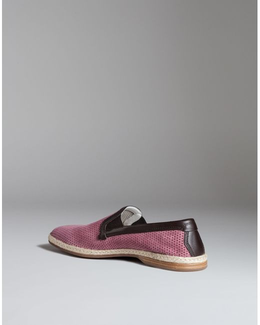 dolce gabbana espadrilles in perforated suede in pink