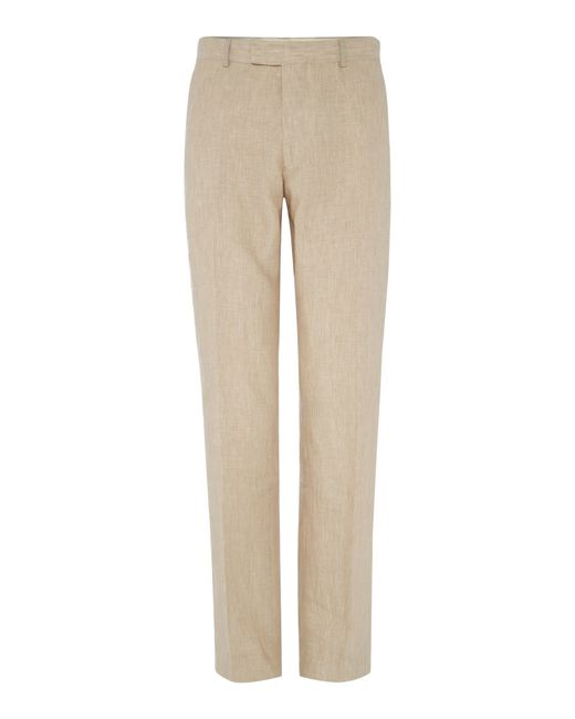 Howick | Natural Fabens Flat Front Linen Trousers for Men | Lyst