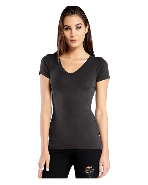 Michael Stars | Black Supima Raw Edge Short Sleeve V-neck Tee | Lyst