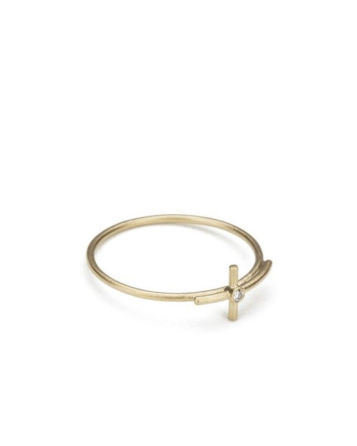 Line & Jo | Metallic Women's Miss Ranee Gold Cross Diamond Ring | Lyst