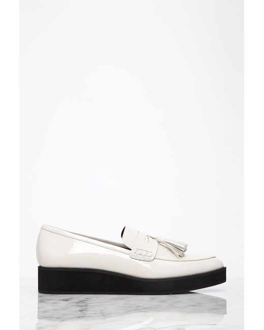 Forever 21 | Natural Pointed Faux Patent Flatform Loafers | Lyst