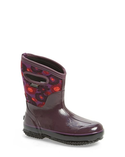 Bogs | Purple 'watercolor' Mid High Waterproof Snow Boot With Cutout Handles | Lyst