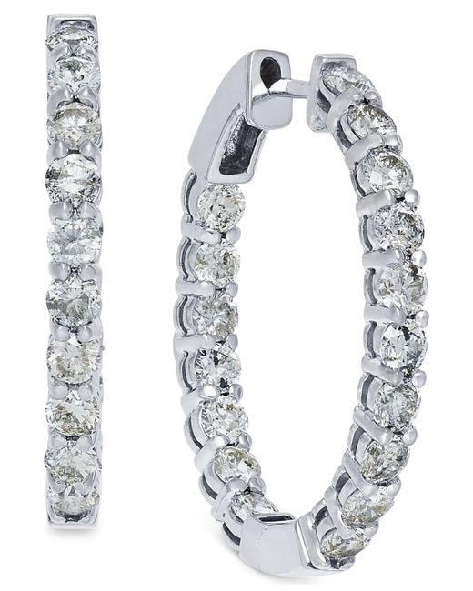 Macy's | Metallic Diamond Hoop Earrings In 14k White Gold (4 Ct. T.w.) | Lyst