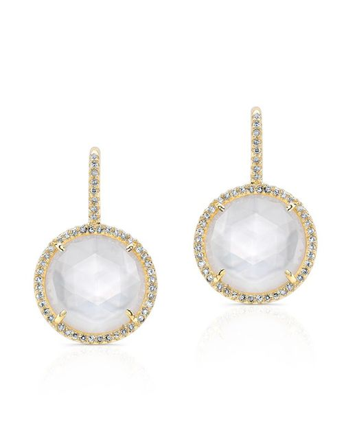 Anne Sisteron - White 14kt Yellow Gold Mother Of Pearl Diamond Lune Earrings - Lyst