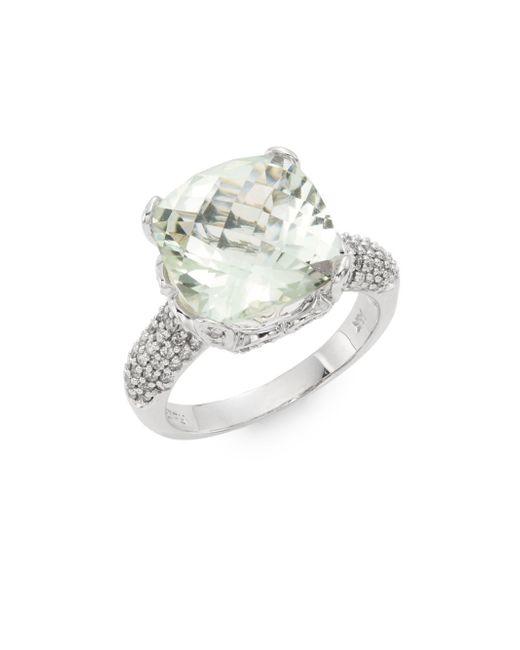 Effy   Metallic Green Amethyst, Diamond & 14k White Gold Ring   Lyst